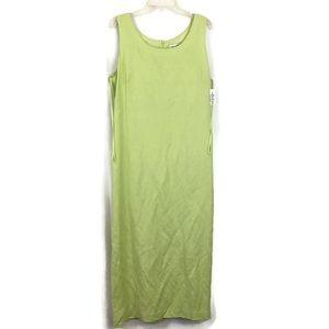 Linen Sleeveless Sheath Dress Green Maxi size 16